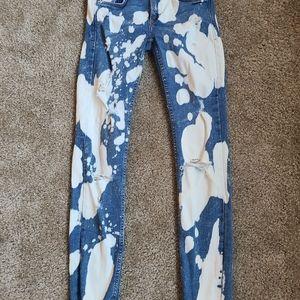 Bleach distressed jeans